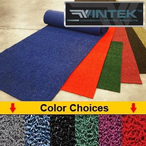 Extruded vinyl spaghetti like woven matting for water draining applications